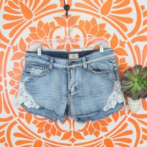 Lost Denim and Lace Jean Shorts 29
